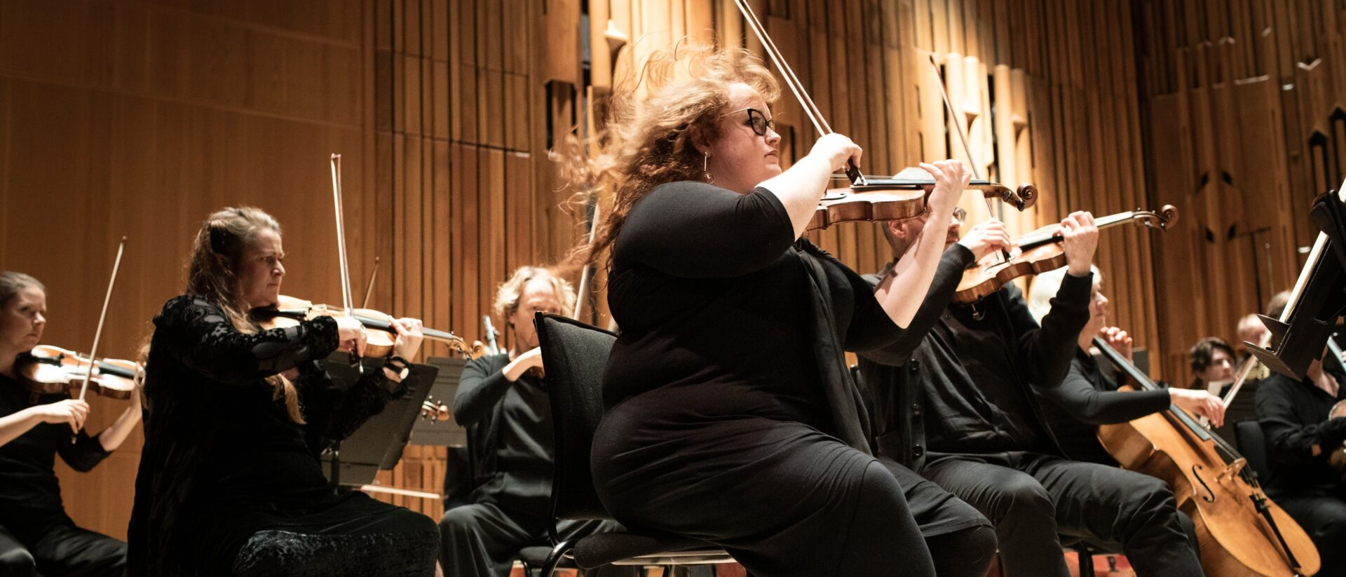 Close up of players from Britten Sinfonia performing on stage