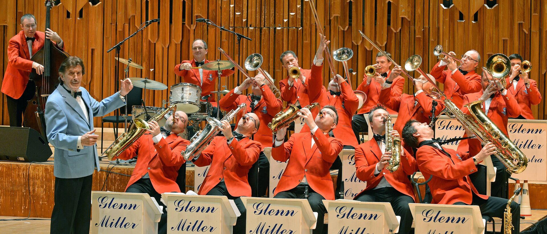 The Glenn Miller Orchestra having fun performing on the Barbican Stage.