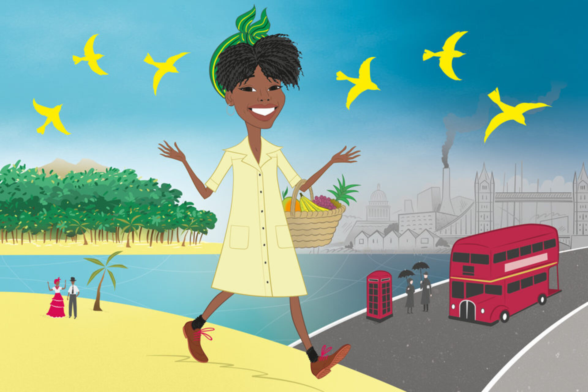 A cartoon illustration of a woman walking on a mix of the beach and London.