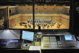 View of the auditorium and the recording desk from the overhead gallery