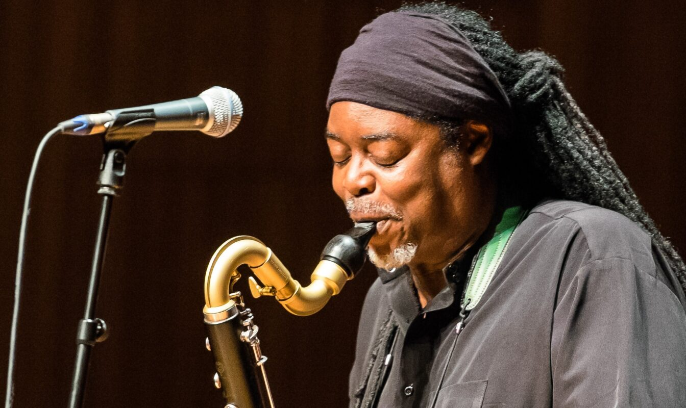 A close up of Courtney Pine playing the saxophone