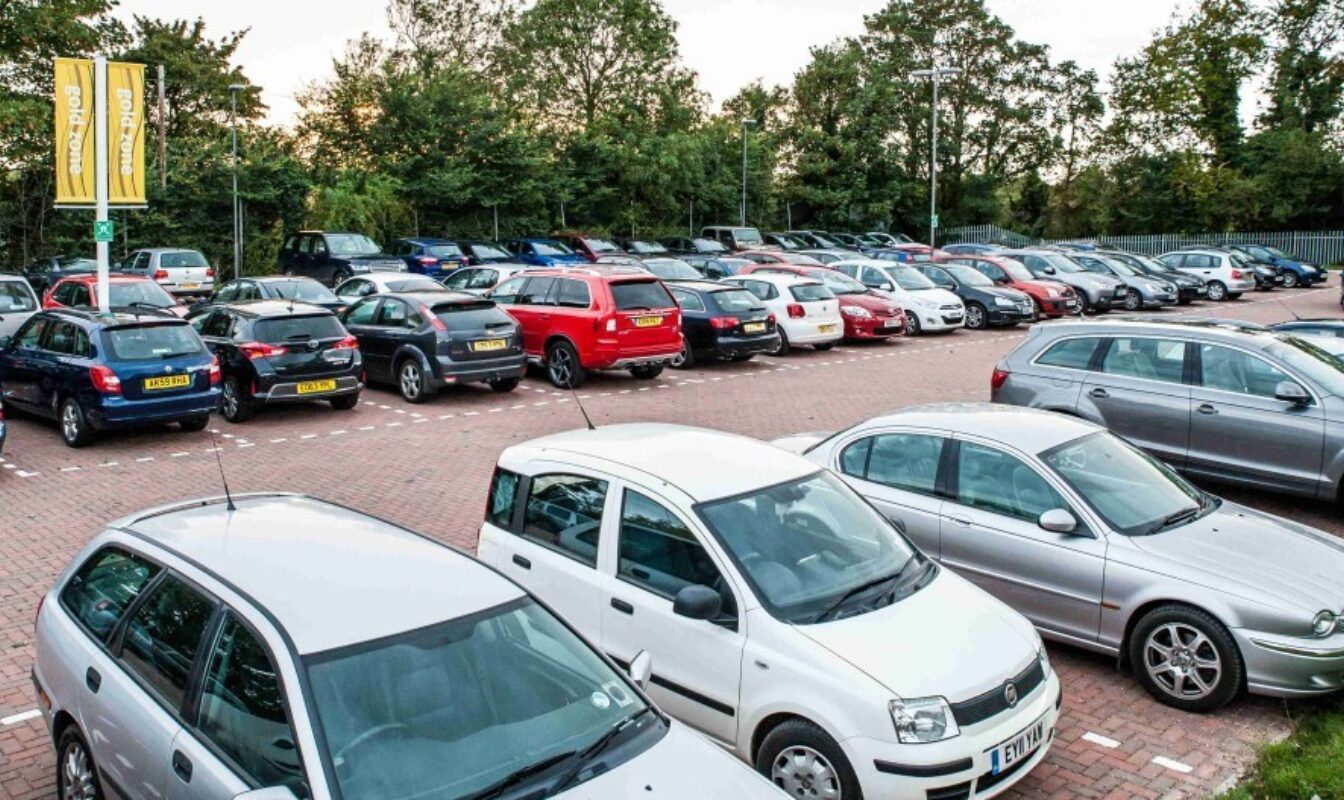 Saffron Hall car park full of cars