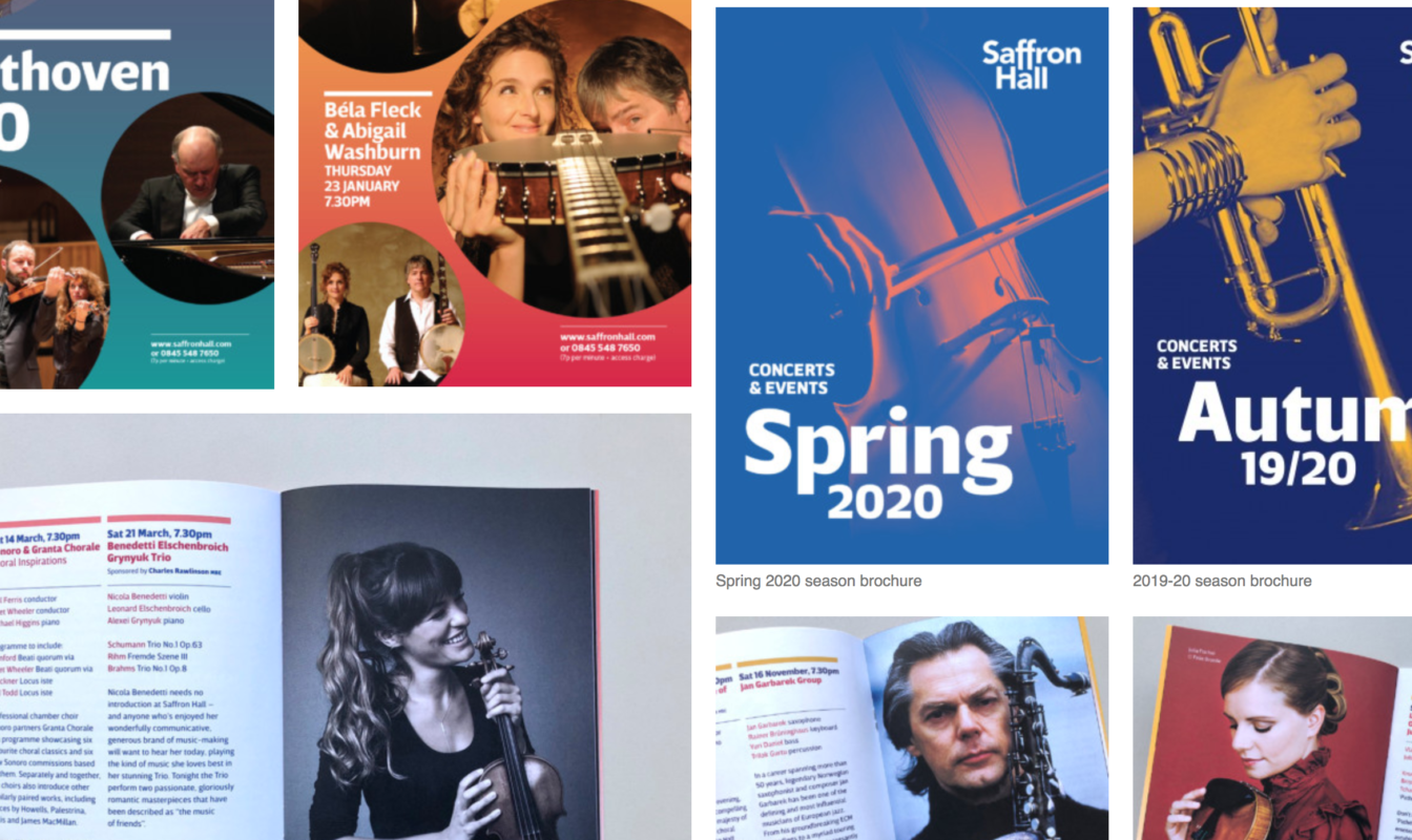 Montage of Saffron Hall posters and graphic design