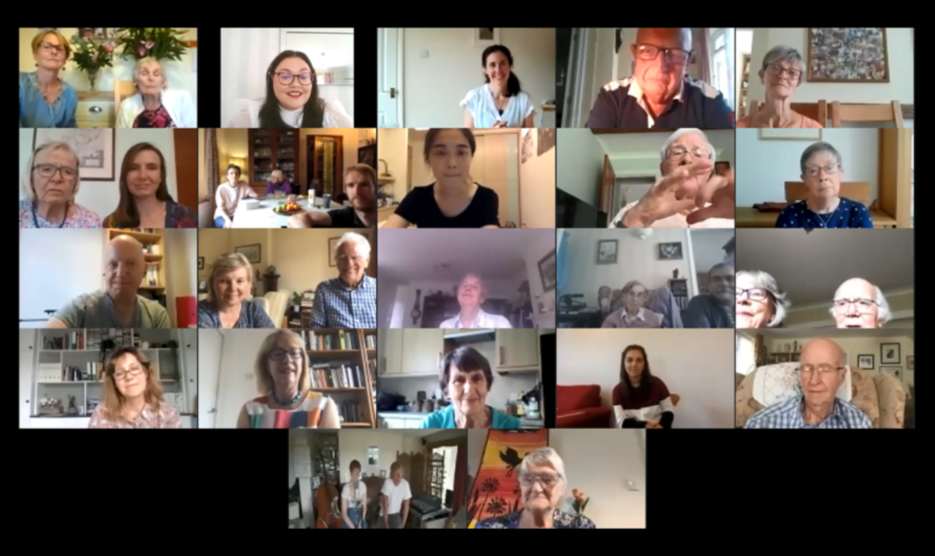 A screenshot from a Zoom video call showing several animated Together in Sound participants