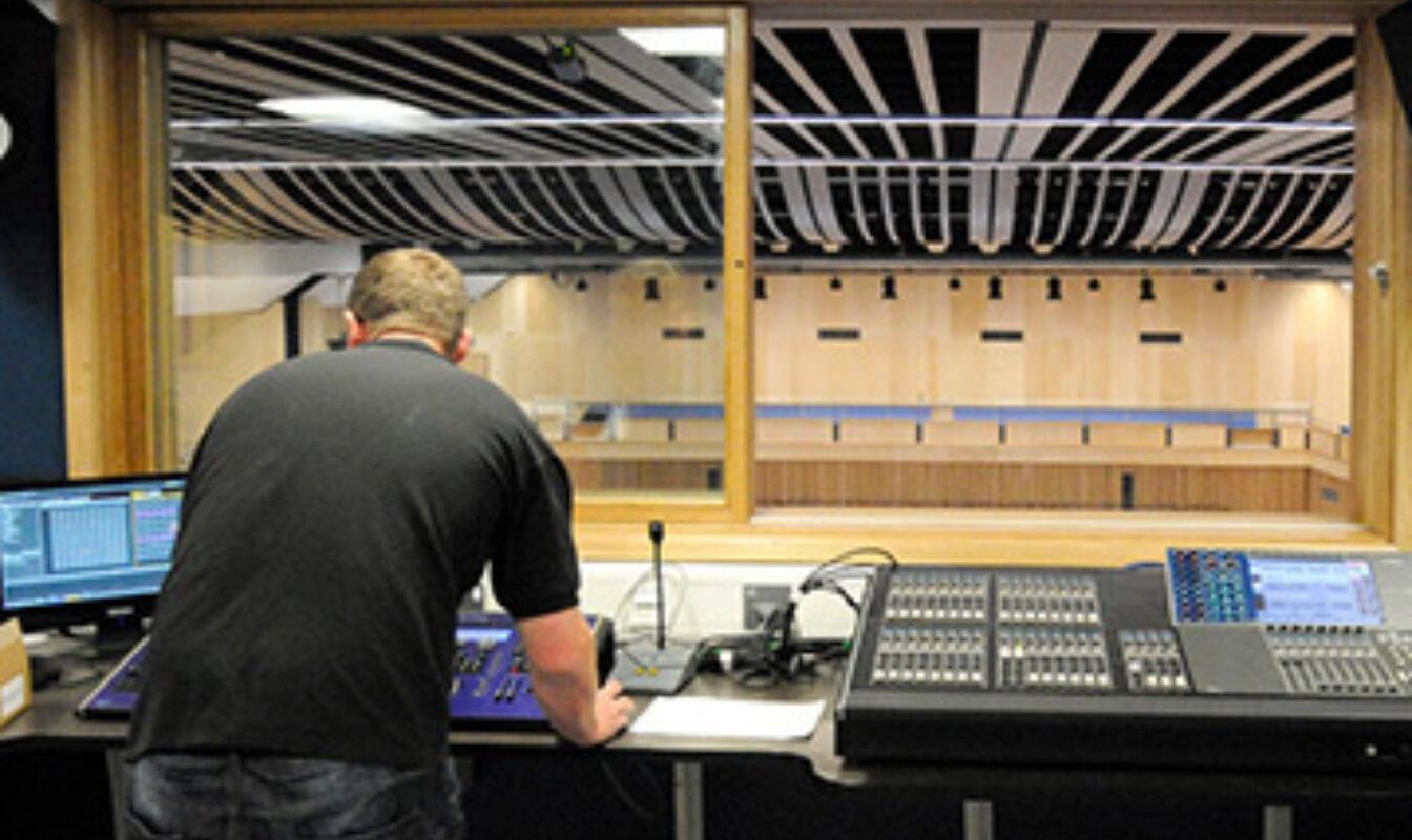 Image of Saffron Hall recording desk from auditorium gallery