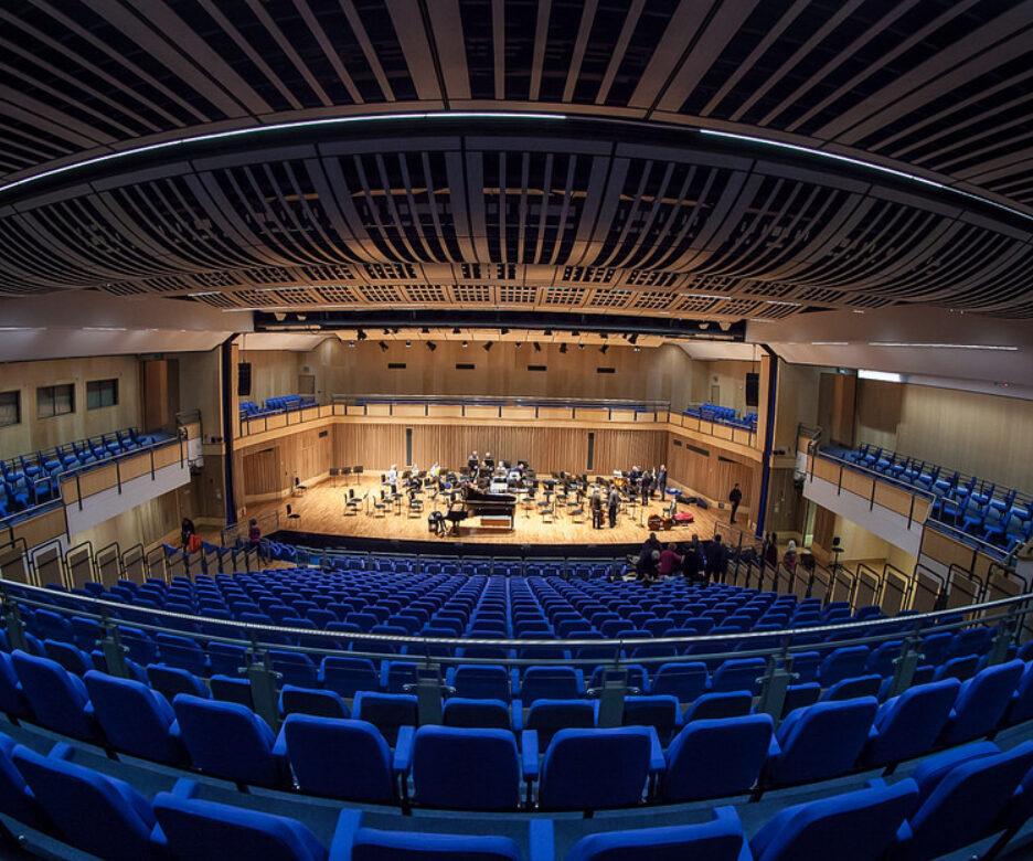 A fisheye photo of the Saffron Hall auditorium